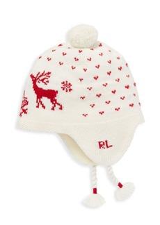 Ralph Lauren Little Girl's Reindeer Intarsia Earflap Hat