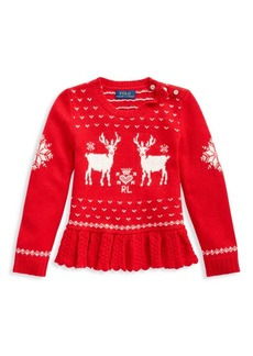 Ralph Lauren Little Girl's Reindeer Peplum Sweater