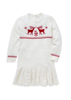 Ralph Lauren Little Girl's Reindeer Sweater Dress