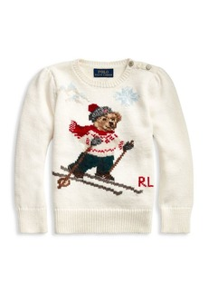 Ralph Lauren Little Girl's Skier Bear Sweater