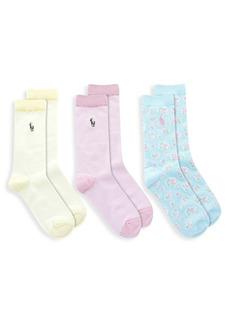 Ralph Lauren Little Kid's & Kid's 3-Pack Beach Floral Crew Socks