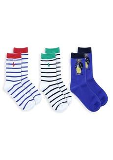 Ralph Lauren Little Kid's & Kid's 3-Pack Bermuda Bear Crew Socks