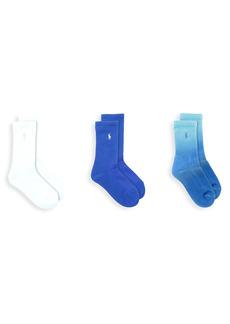 Ralph Lauren Little Kid's & Kid's 3-Pack Dip-Dye Crew Socks