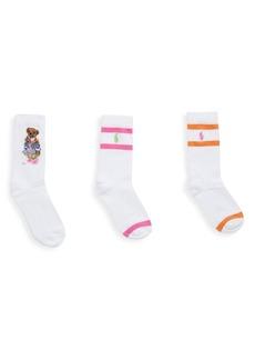 Ralph Lauren Little Kid's & Kid's 3-Pack Madras Bear Socks