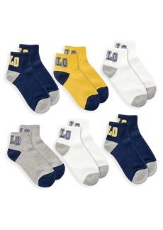 Ralph Lauren Little Kid's & Kid's 6-Pack Polo Logo Quarter Socks