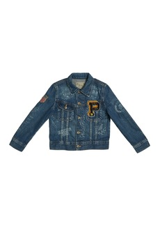 Ralph Lauren Logo Embroidered Denim Jacket  Size 5-7