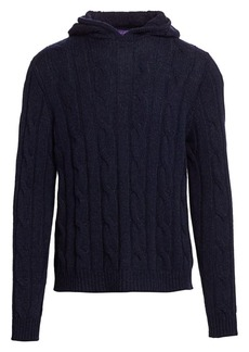 Ralph Lauren Long-Sleeve Cable-Knit Cashmere Hoodie