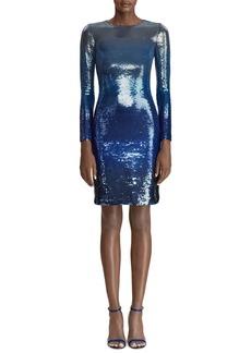 Ralph Lauren Long-Sleeve Ombre Sequin Bodycon Dress