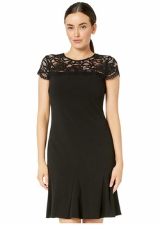 Ralph Lauren Luxe Tech Crepe Cally Short Sleeve Day Dress