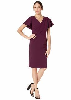 Ralph Lauren Luxe Tech Crepe Zurette Short Sleeve Day Dress