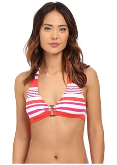 Ralph Lauren Marina Stripe Ring Front Halter w/ Removable Cup Top