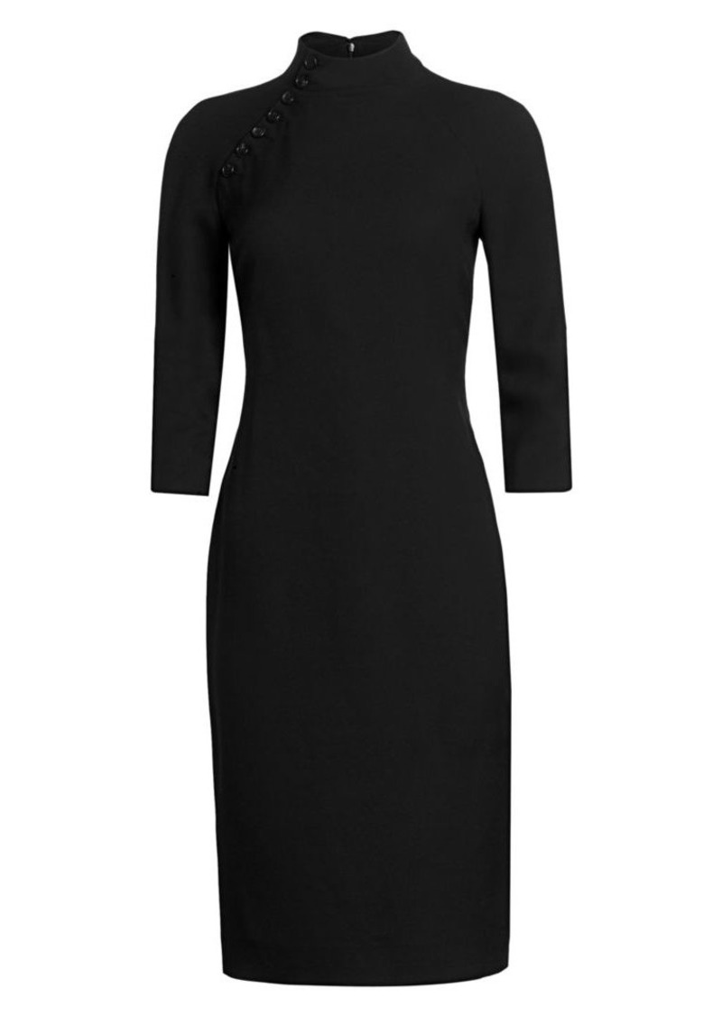 Ralph Lauren Matilda Button-Neck Wool & Silk Sheath Dress