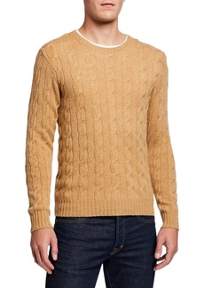 Ralph Lauren Men's Cashmere Cable-Knit Crewneck Sweater  Beige