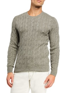 Ralph Lauren Men's Cashmere Cable-Knit Crewneck Sweater  Light Gray Heather