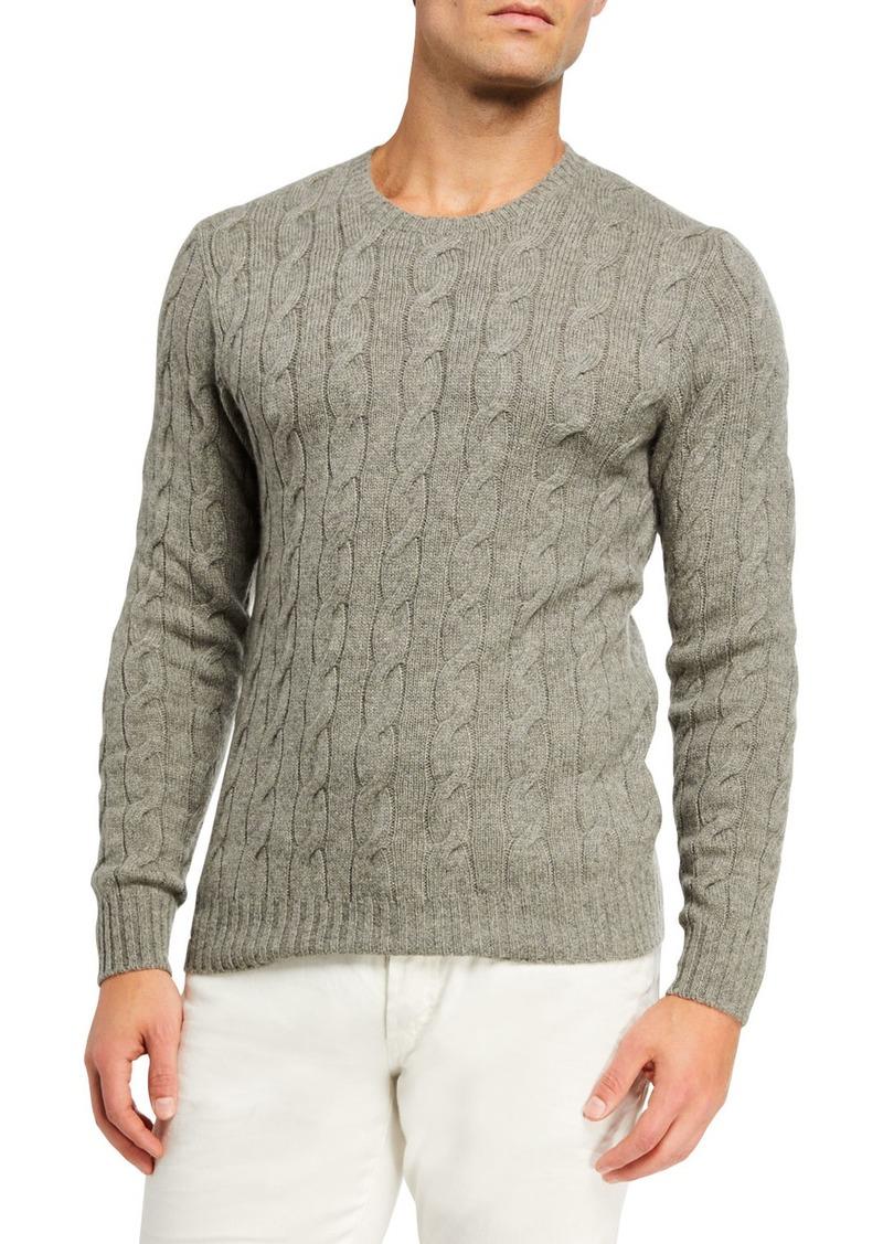 Ralph Lauren Men's Cashmere Cable-Knit Crewneck Sweater  Light Gray Heather