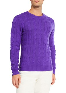 Ralph Lauren Men's Cashmere Cable-Knit Crewneck Sweater  Purple