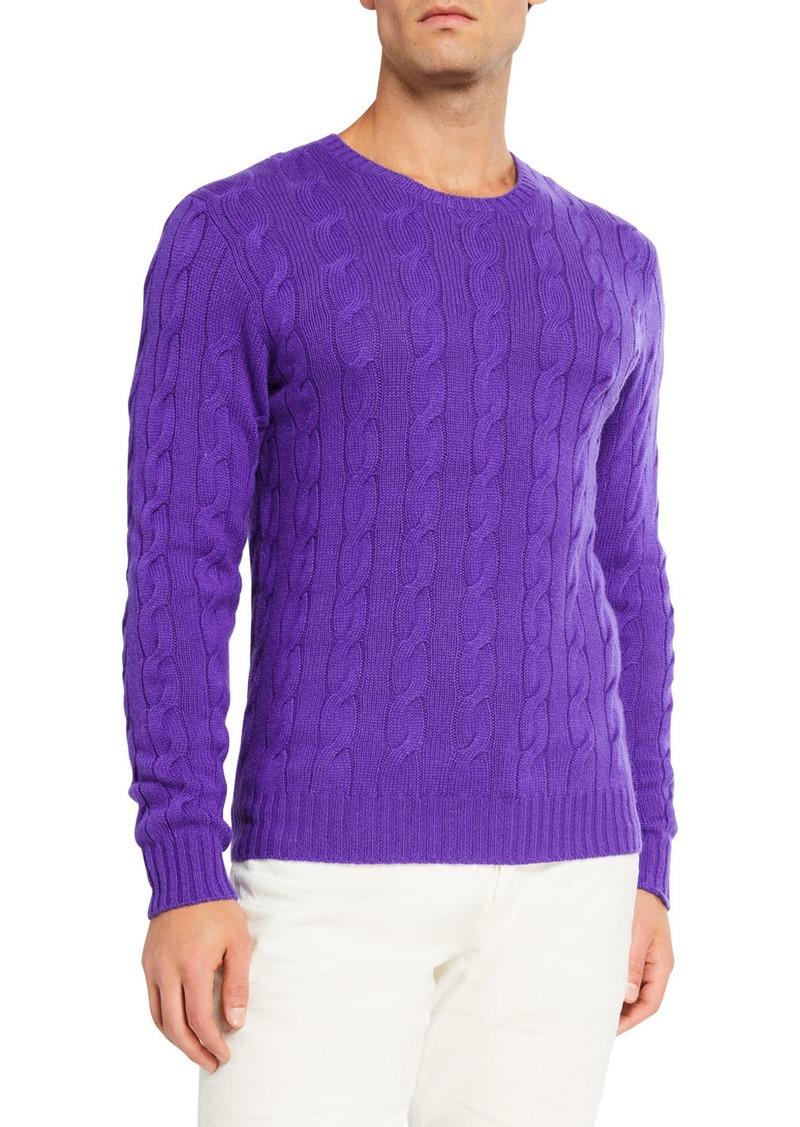 Ralph Lauren Men's Cashmere Cable-Knit Crewneck Sweater  Purple