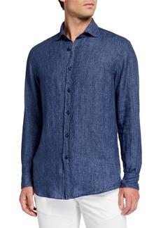 Ralph Lauren Men's Chambray Linen Sport Shirt