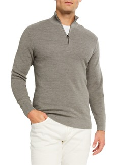 Ralph Lauren Men's Pique Quarter-Zip Pullover  Light Gray