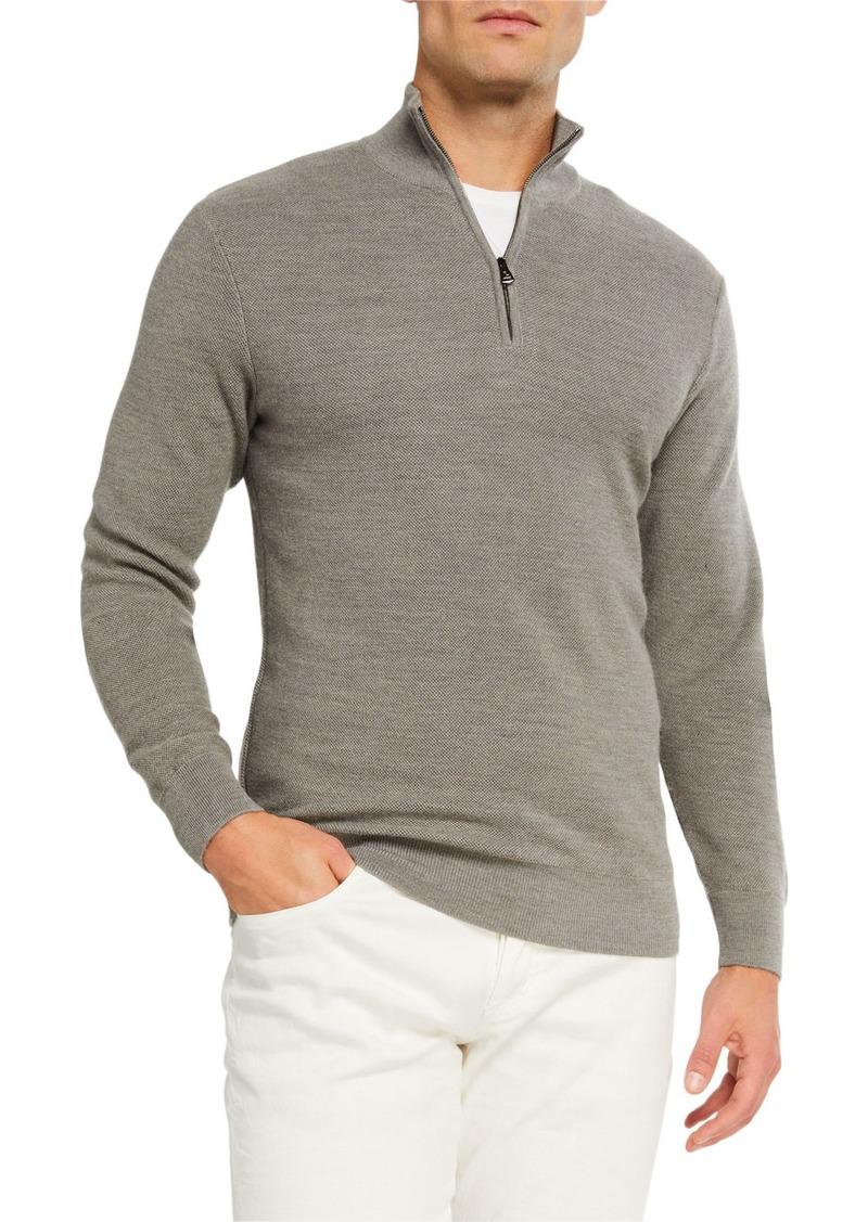 Ralph Lauren Men's Pique Quarter-Zip Pullover  Light Gray