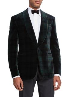 Ralph Lauren Men's Plaid Velvet Dinner Jacket