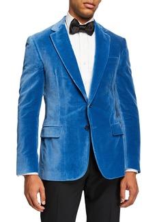 Ralph Lauren Men's Solid Velvet Dinner Jacket  Light Blue