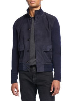 Ralph Lauren Men's Suede-Front Button-Front Jacket