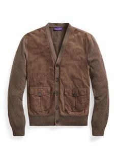 Ralph Lauren Men's Suede-Front Cashmere Cardigan Sweater
