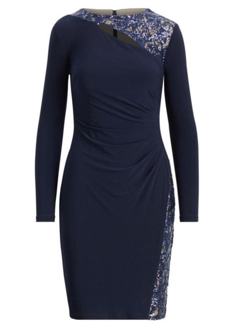 Ralph Lauren Mesh Cutout Jersey Dress
