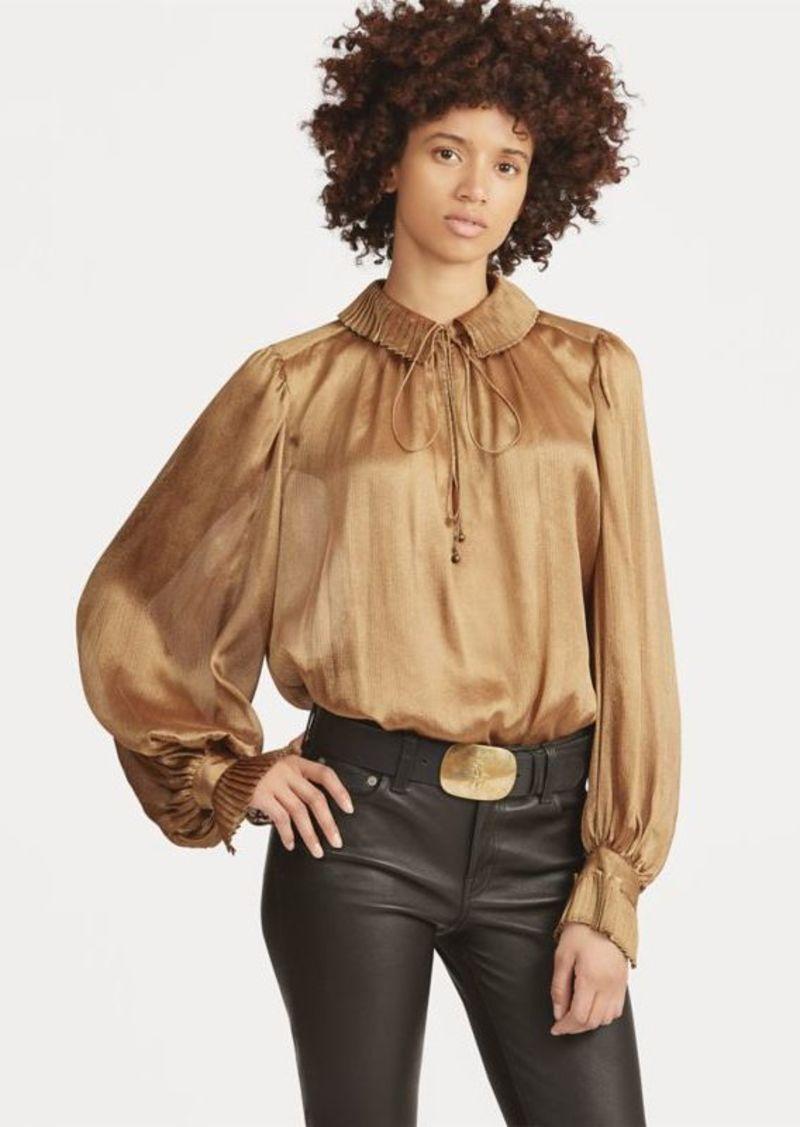 Ralph Lauren Metallic Crinkle Blouse Dress Shirts