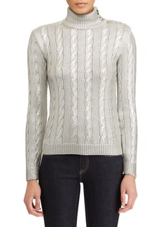 Ralph Lauren Metallic Silk Cabled Sweater