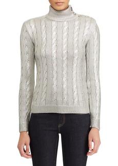 Ralph Lauren Metallic Silk Cabled Sweater