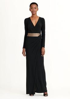 Metallic-Trim Jersey Gown