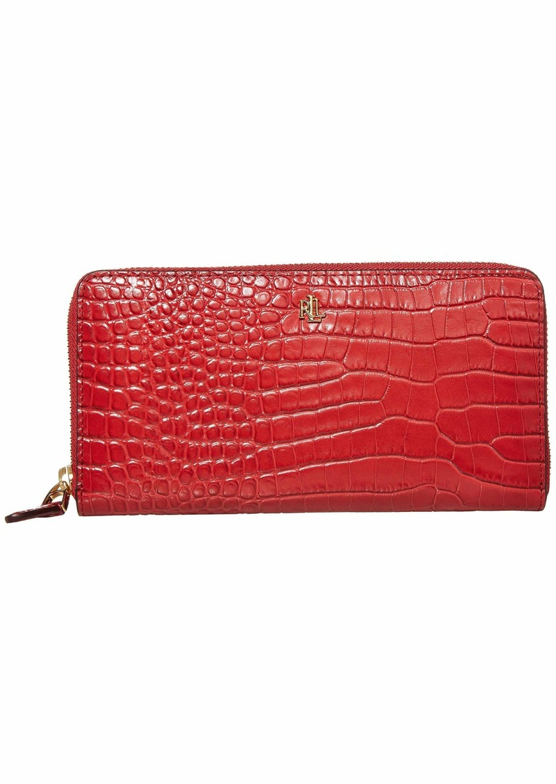 Ralph Lauren Mini Croc Embossed Zip Continental Wallet Large