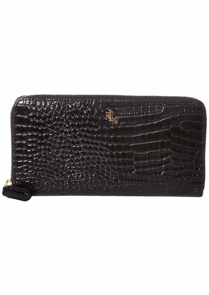 Ralph Lauren Mini Croc Embossed Zip Continental Wallet Large