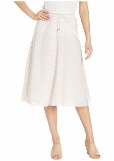 Ralph Lauren Mitered-Stripe Cotton Skirt