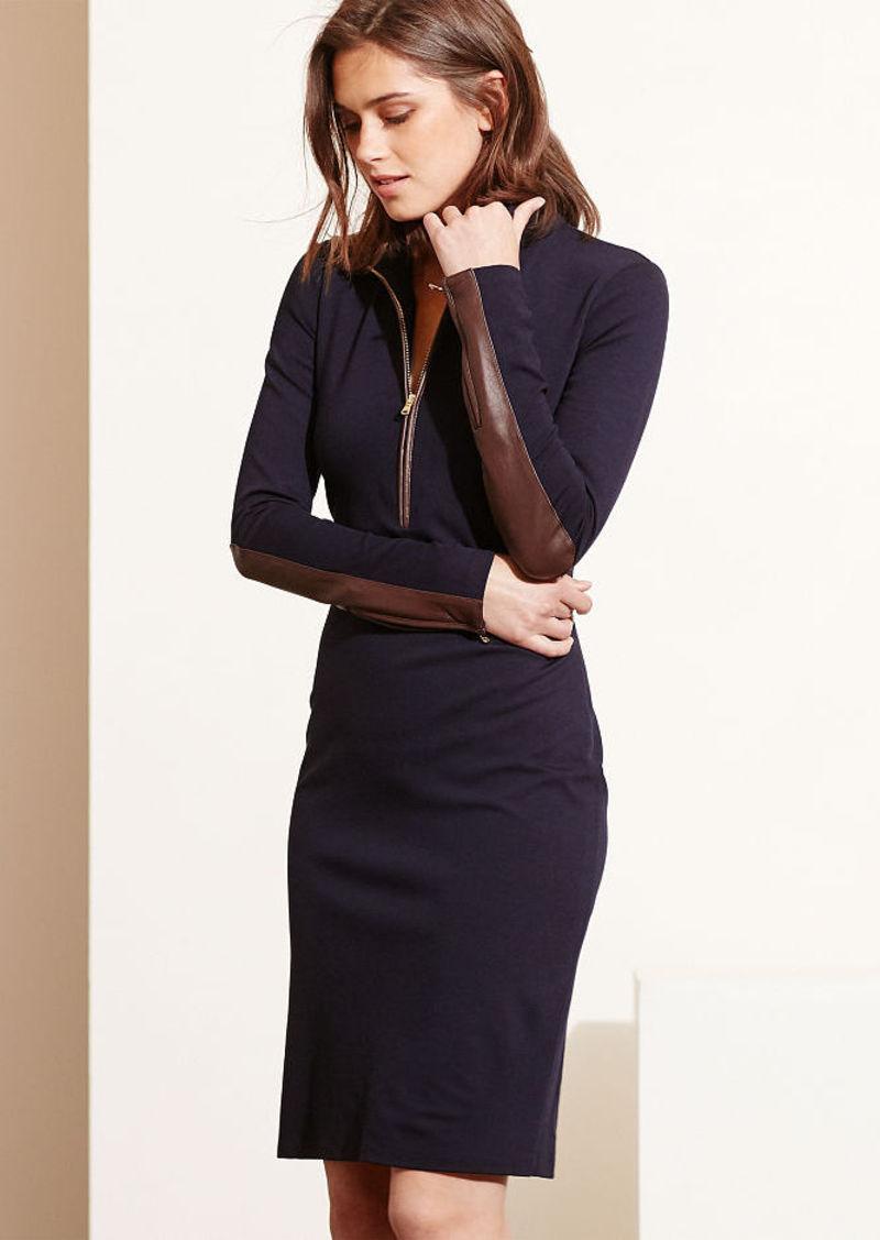 Ralph Lauren Mockneck Half-Zip Dress