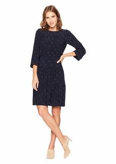 Ralph Lauren Moon Dot Koral Long Sleeve Day Dress