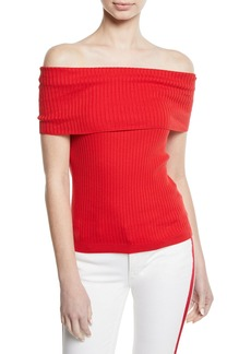 Ralph Lauren Off-the-Shoulder Cotton Ribbed Top