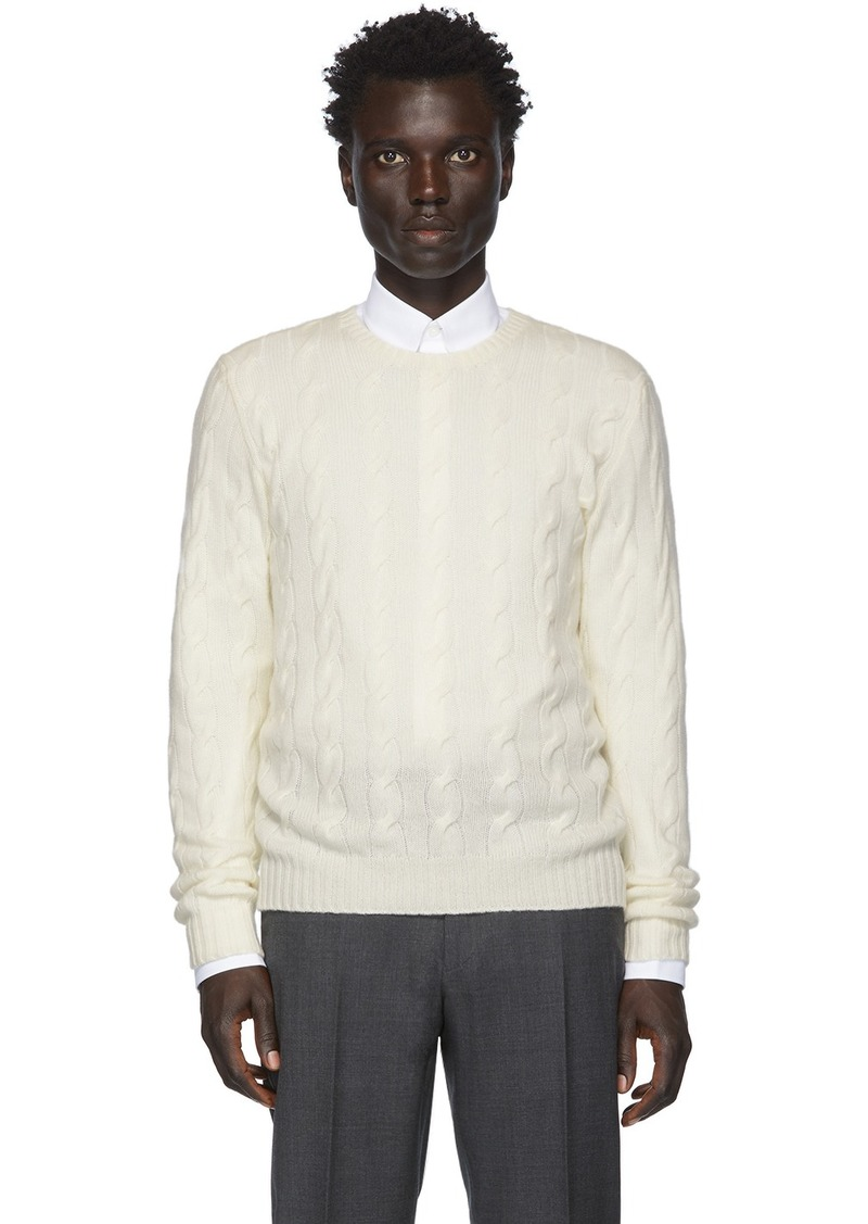 Ralph Lauren Off-White Cashmere Cable-Knit Sweater