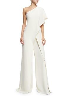 Ralph Lauren One-Shoulder Silk Crepe Jumpsuit  Ivory