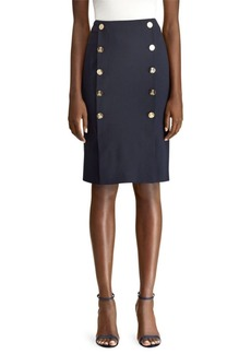 Ralph Lauren Ophelie Button Pencil Skirt