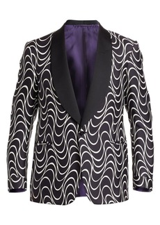 Ralph Lauren Optical-Print Silk One-Button Jacket