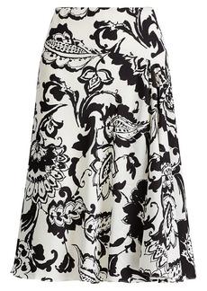 Paisley-Print Crepe Skirt