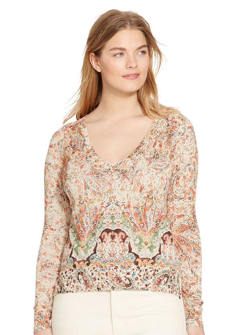 Ralph Lauren Paisley-Print V-Neck Sweater