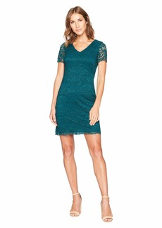 Ralph Lauren Panel Lace Gordy Short Sleeve Day Dress