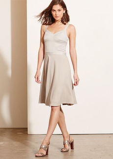 Paneled-Bodice Crepe Dress