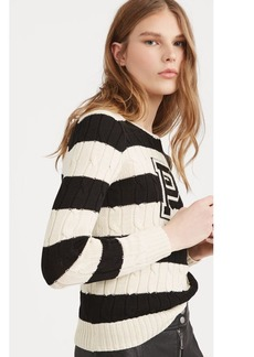 Patch Striped Cotton Sweater