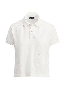 Ralph Lauren Patchwork Cropped Mesh Polo