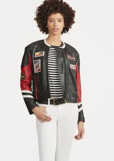 Ralph Lauren Patchwork Leather Biker Jacket